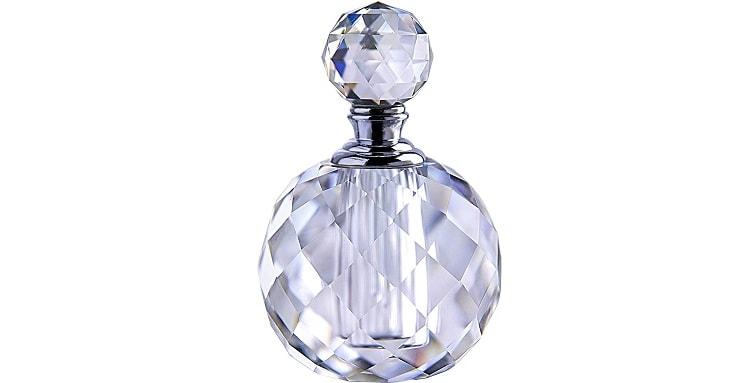 H&D Crystal Art Deco Vintage Style Perfume Bottle