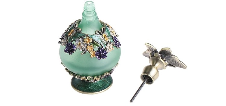 Vintage Crystal Perfume Bottles with Floral and Butterfly Pattern